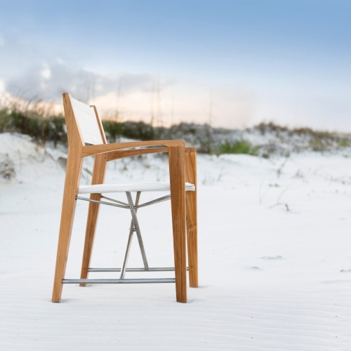 folding teak dining chair with arms