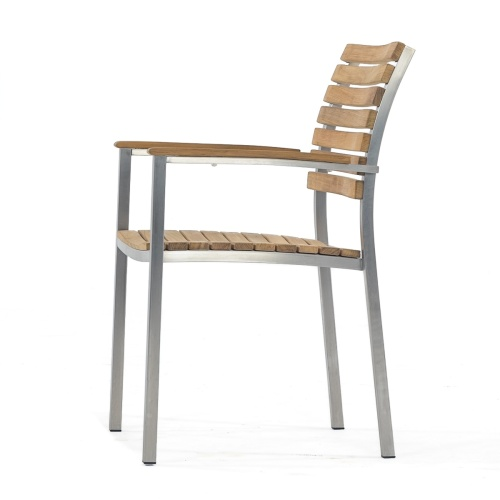 stackable teak and stainless steel chair