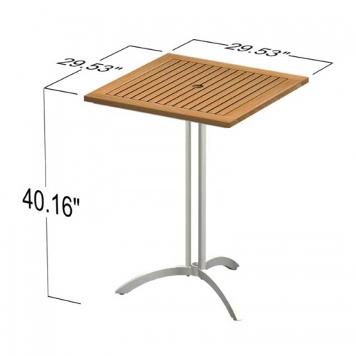 square table teak bar