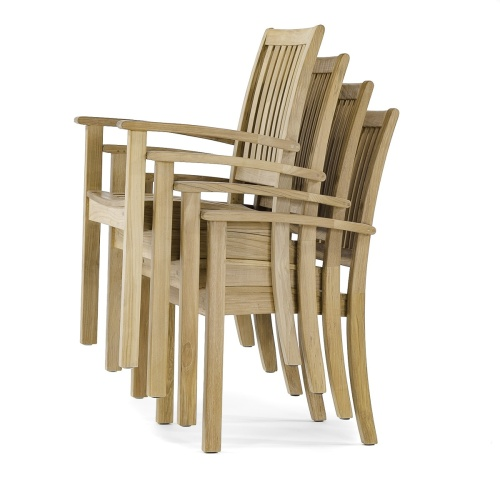 wooden stacking patio chair with arms