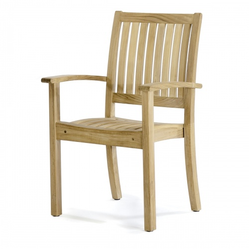 patio dining chair in natural wood
