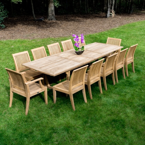 teak large dining table set