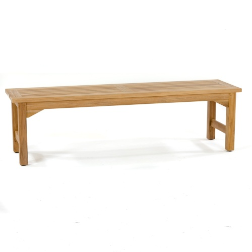 waterproof 5 foot backless teakwood bench