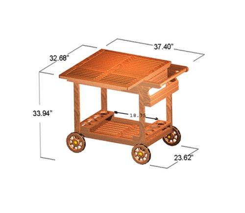 teak classic server trolley
