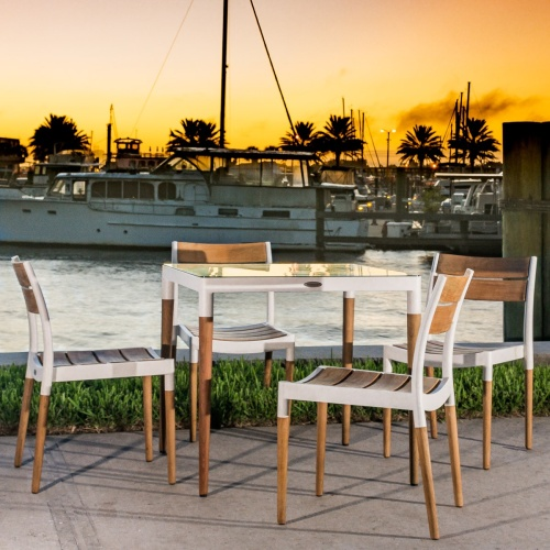 teak wood aluminum patio table & chairs