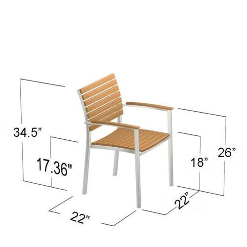 Vogue Stainless Steel Teak Dining Set