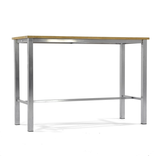 solid teak and stainless steel high bar console