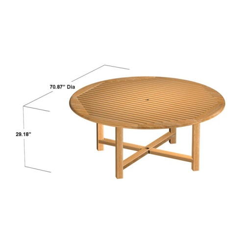 large round teak tables