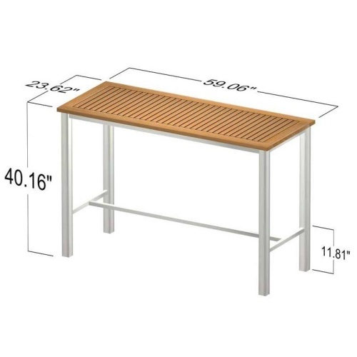rectangular bar table teak and stainless steel