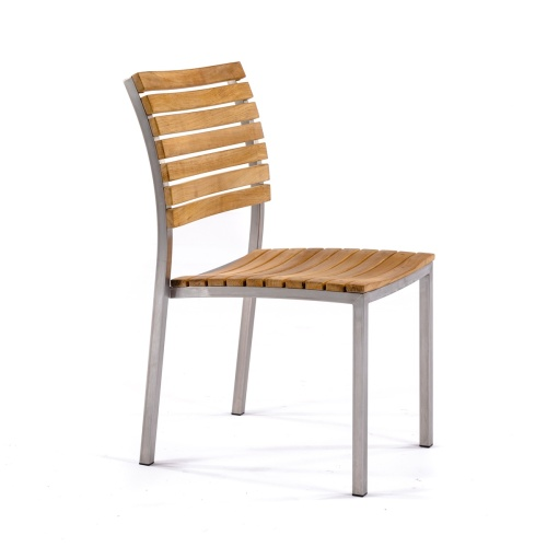 sidechair made of teak and stanless steel