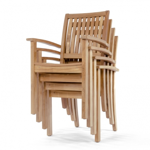 teak wood stacking chair with arms