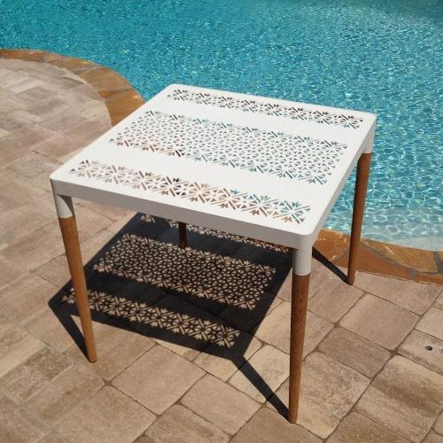 teak wood aluminum patio table