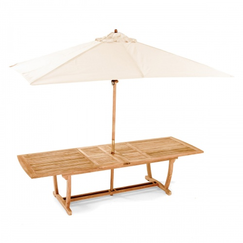 grand teak table and umbrella