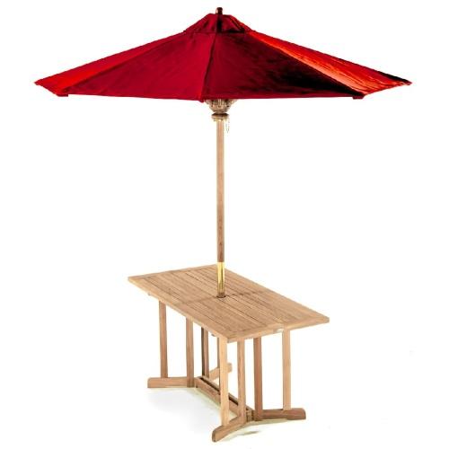 outdoor teak rectangular dining room table umbrella