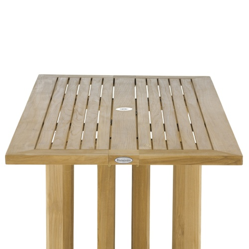 low rectangular teak outdoor table
