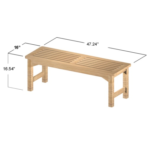 backless outdoor teak benches