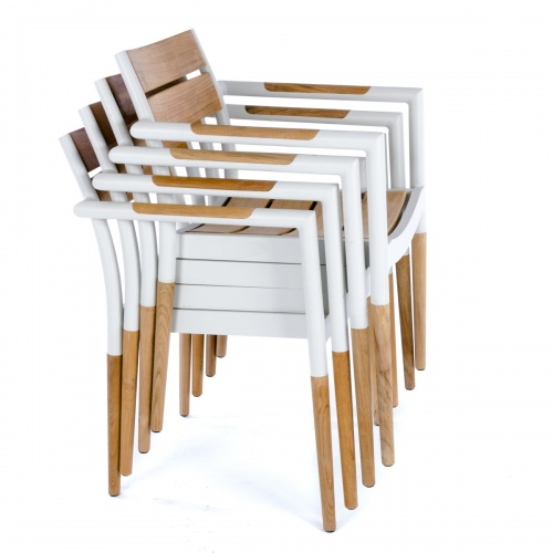 mid century stacking teakwood and aluminum chairs