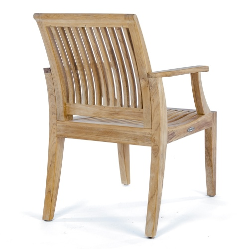 contemporary curved teak patio armchair
