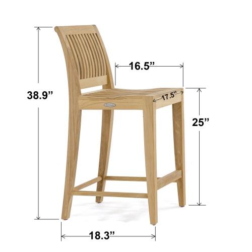 vintage high bar stool teak