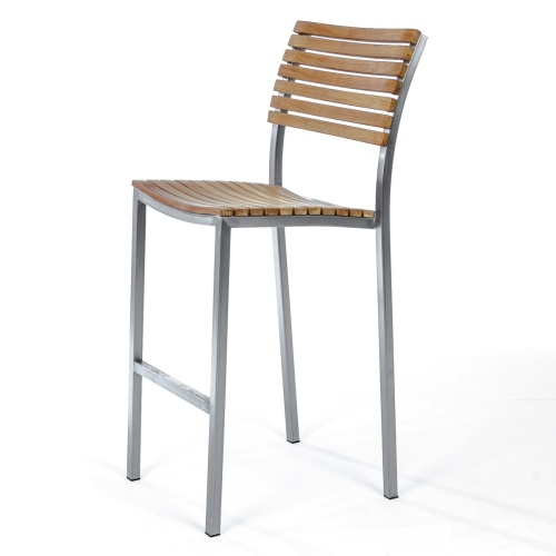 vogue teakwood stainless steel bar stool with back