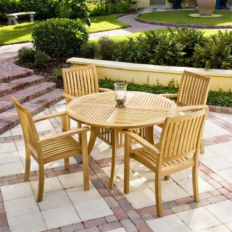 5 pc Round Teak Dining Sets