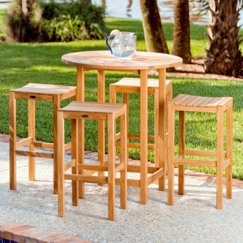 Swivel Teak Patio Bar Stool - Picture A