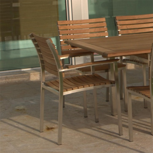 Teak and Aluminum Stacking Chair - Picture A