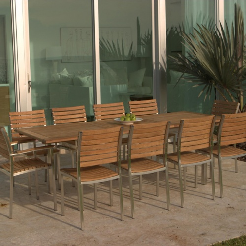 Teak and Aluminum Stacking Chair - Picture B