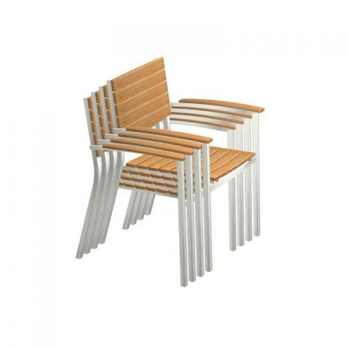 Teak and Aluminum Stacking Chair - Picture C