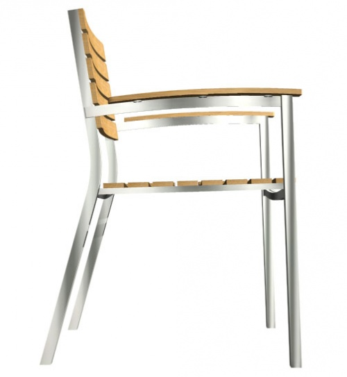 Teak and Aluminum Stacking Chair - Picture D