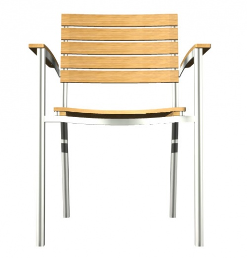 Teak and Aluminum Stacking Chair - Picture E