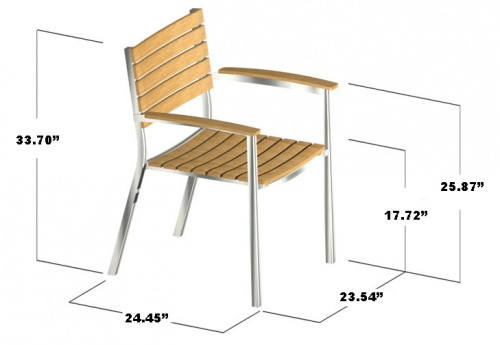 Teak and Aluminum Stacking Chair - Picture F