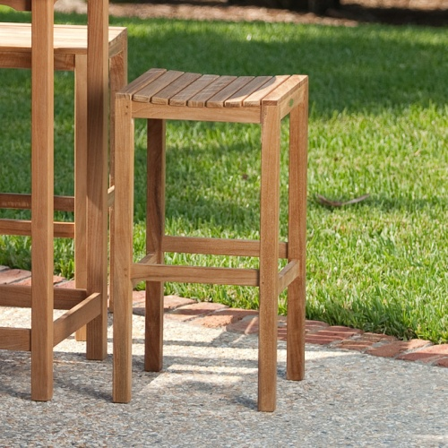 Teak outdoor barstools