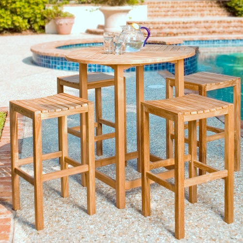 Teak Bars and Bar Stools