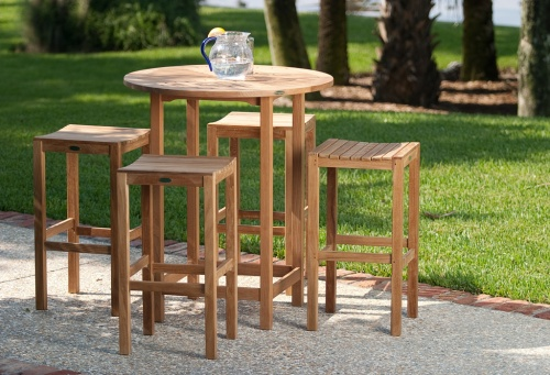 Westminster Teak Backless Bar Stool - Picture C