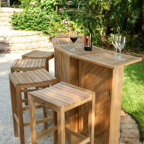 Westminster Teak Backless Bar Stool - Picture D