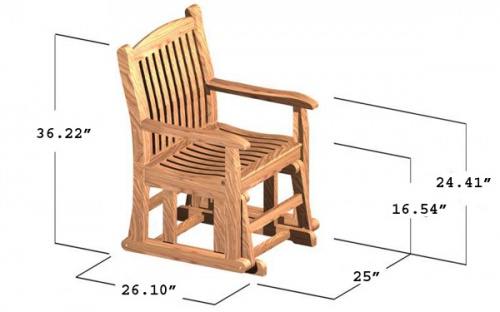 Teak Wave Glider Chair Clearance - Picture D