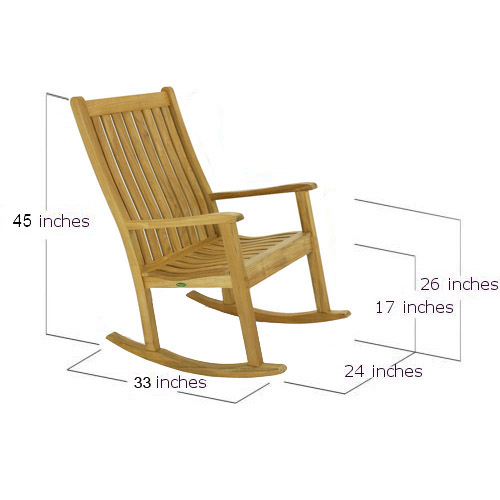 Wave Teak Rocker Chair - Picture C