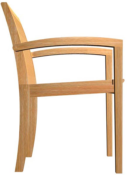 Teak Stackable Armchair - Picture F