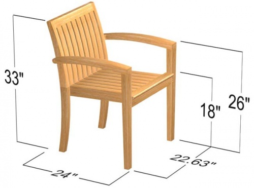 Teak Stackable Armchair - Picture I