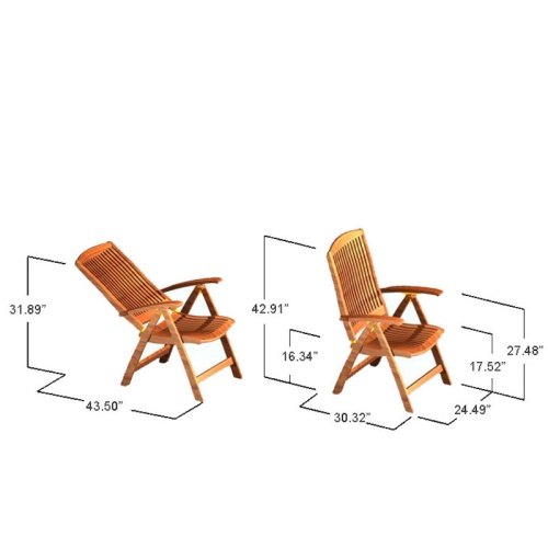 Barbuda Teak Folding Recliner Chair - Picture N