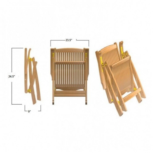 Barbuda Teak Folding Recliner Chair - Picture O