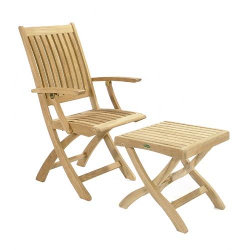 Barbuda Teak Folding Patio Chair  Refurbished - Picture G