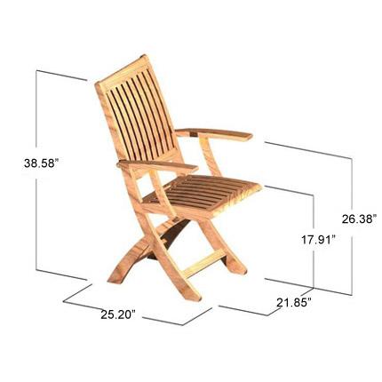 Barbuda Teak Folding Patio Chair  Refurbished - Picture H