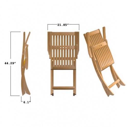 Barbuda Teak Folding Patio Chair  Refurbished - Picture I
