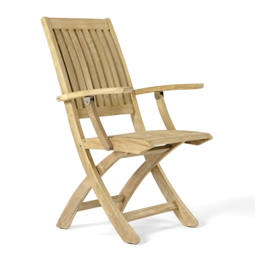 Barbuda Folding Teak Armchair With Stainless Steel Hardware - Picture A