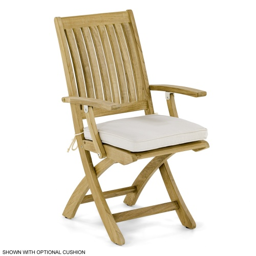 Barbuda Folding Teak Armchair With Stainless Steel Hardware - Picture C