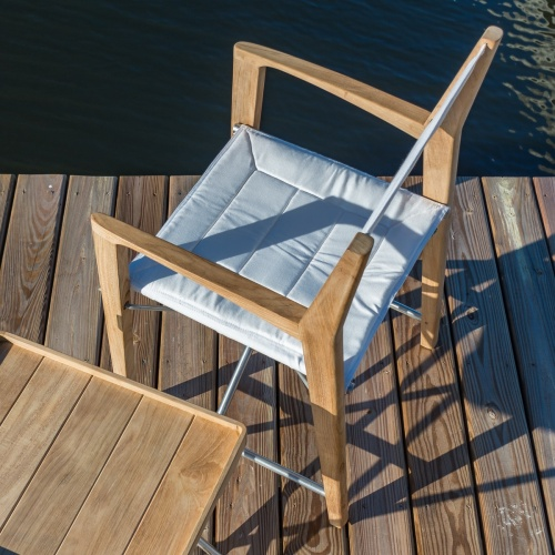 Odyssey Folding Teak Director Chair - 316L Stainle - Picture K