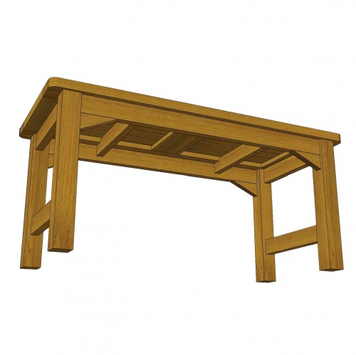 Waterproof Teak Backless Bench 3FT - Picture B