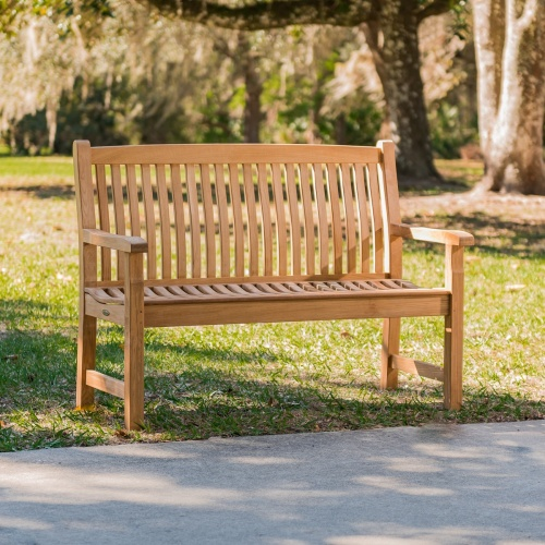 Veranda Teak Wood 4 Foot Wave Bench with Arms - Co - Picture B